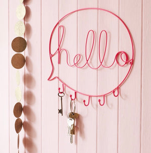 Hello speech bubble with hooks in neon pink