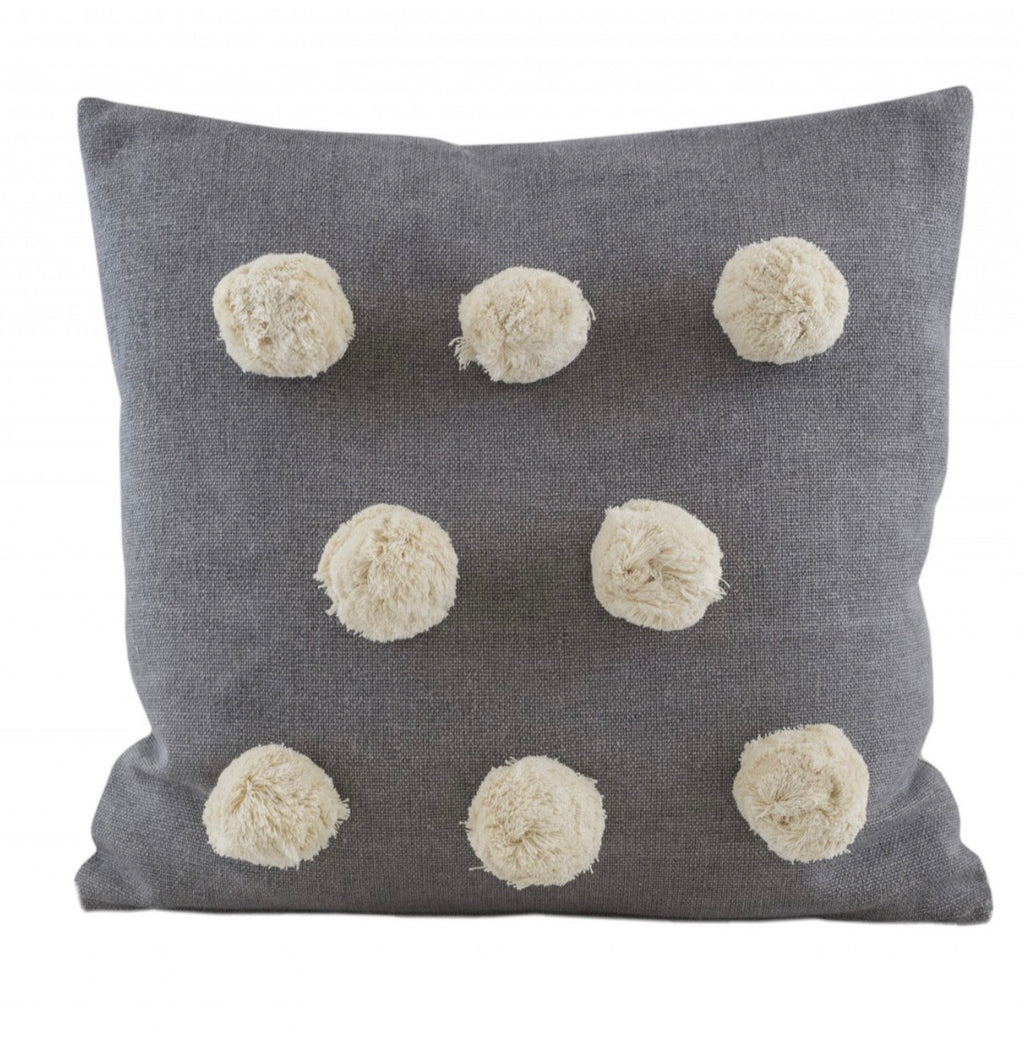 Giant Pom Pom grey cushion
