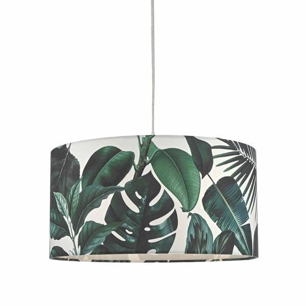 Green leaf print shade