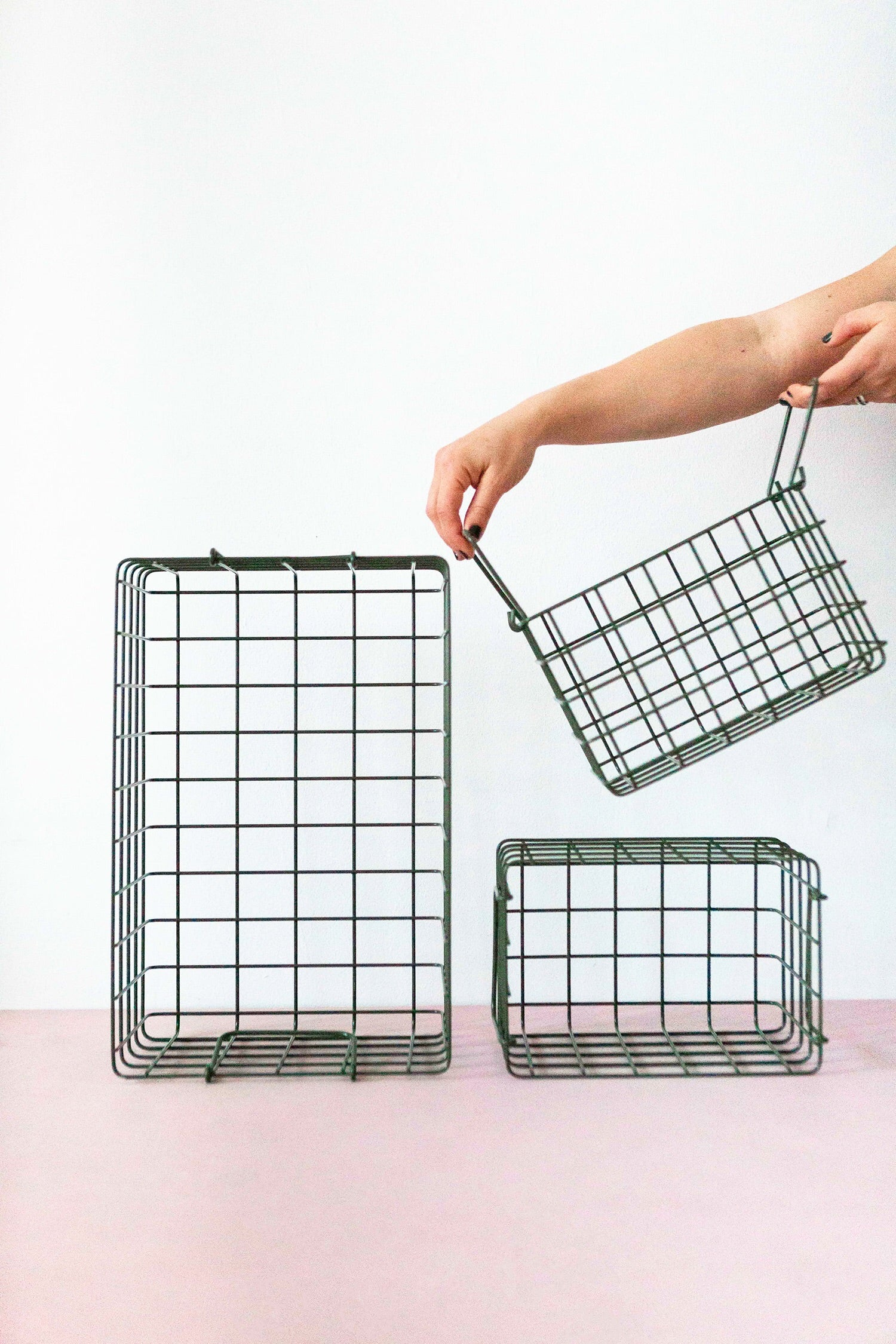 Set of 3 baskets in olive