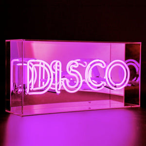 Neon Disco Pink Light in Acrylic Box
