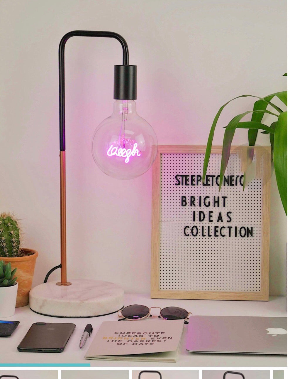 Pink Neon Laugh LED Bulb