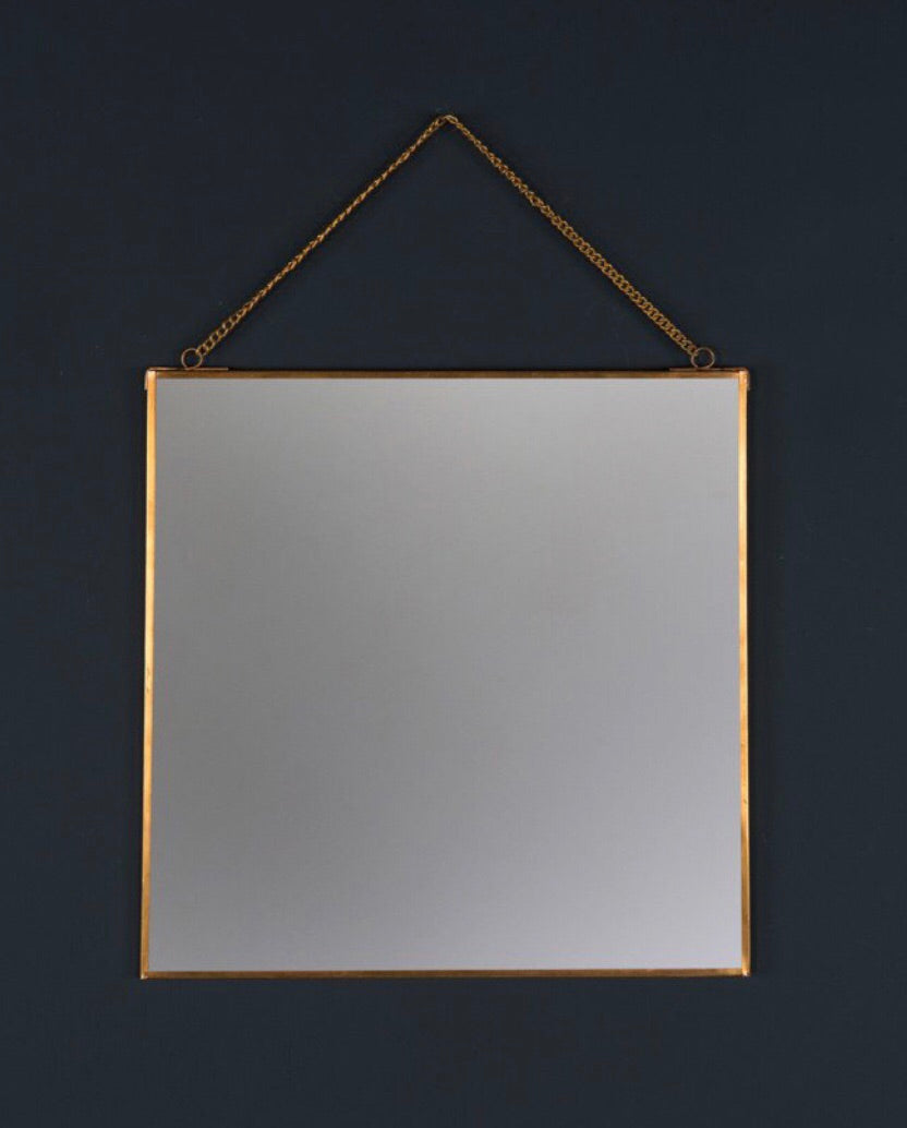 Square Brass Mirror on Chain