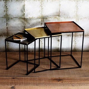 Set of 3 nesting tables in copper/brass/nickle