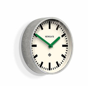 Galvanised Steel Luggage Wall Clock with Green Hands