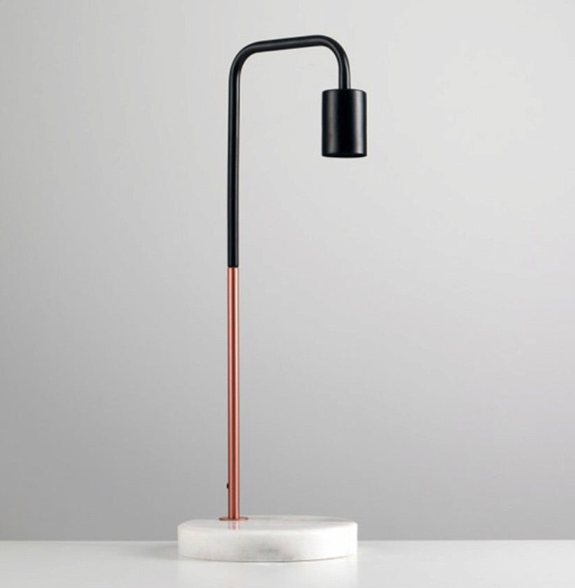Marble Stone Base Desk Lamp - rose gold