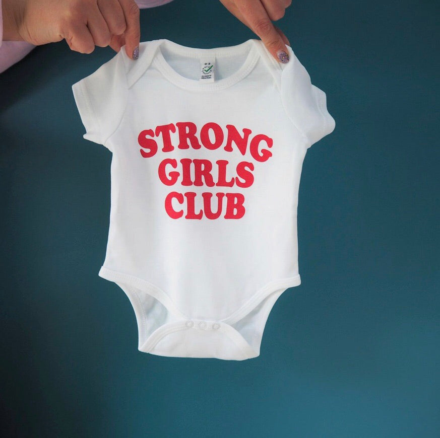 Strong Girls Babygrow white