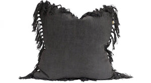 Charcoal jute tassel cushion
