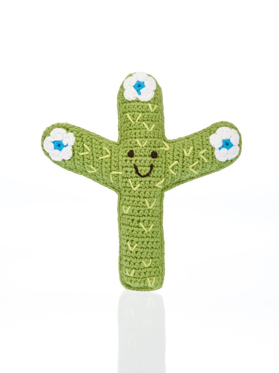 Knitted Cactus Rattle blue