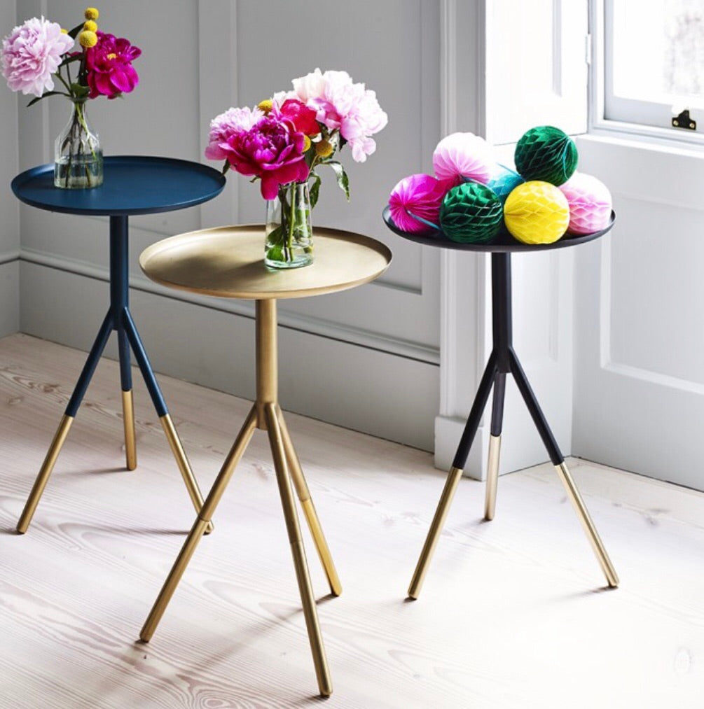 Petrol blue side table with brass feet