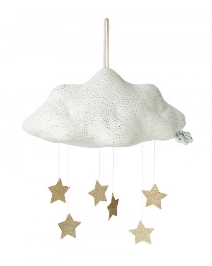 White Corduroy Cloud with gold stars