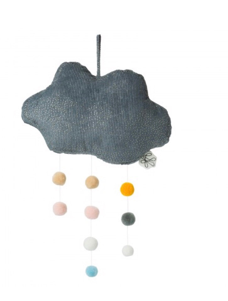 Grey Corduroy Cloud with Pompoms