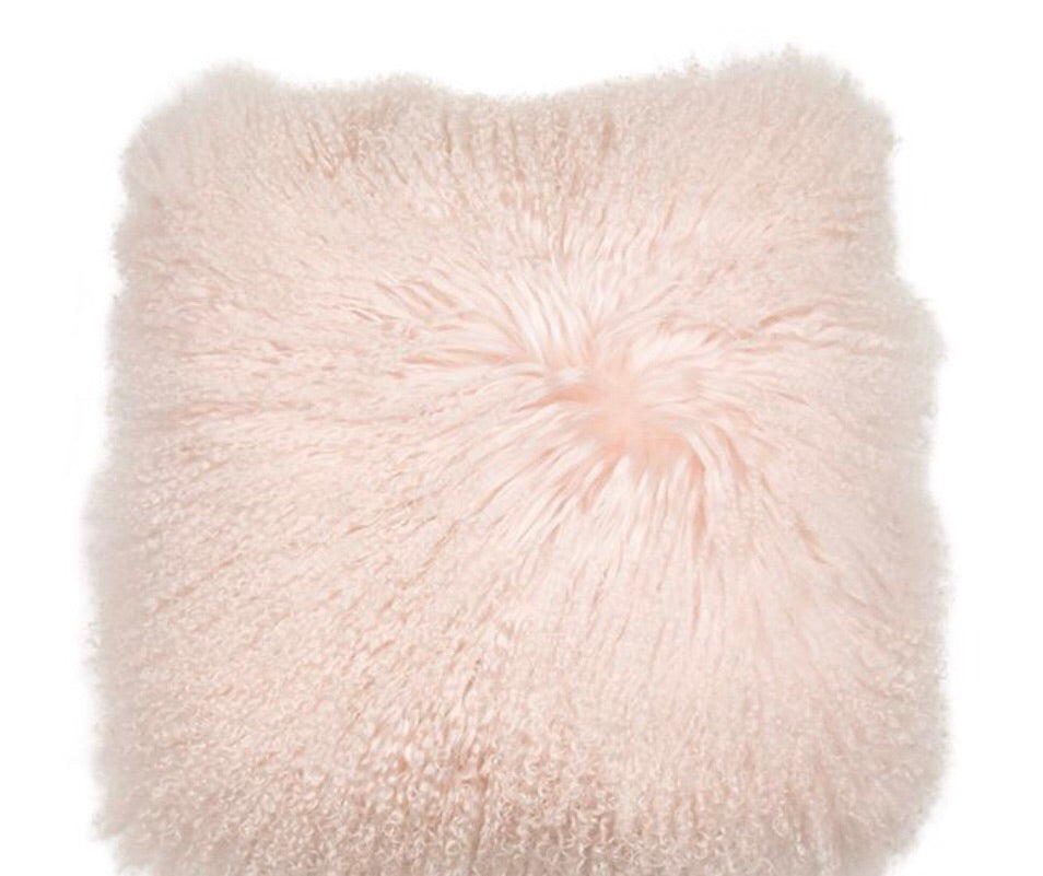 Mongolian Blush fur cushion
