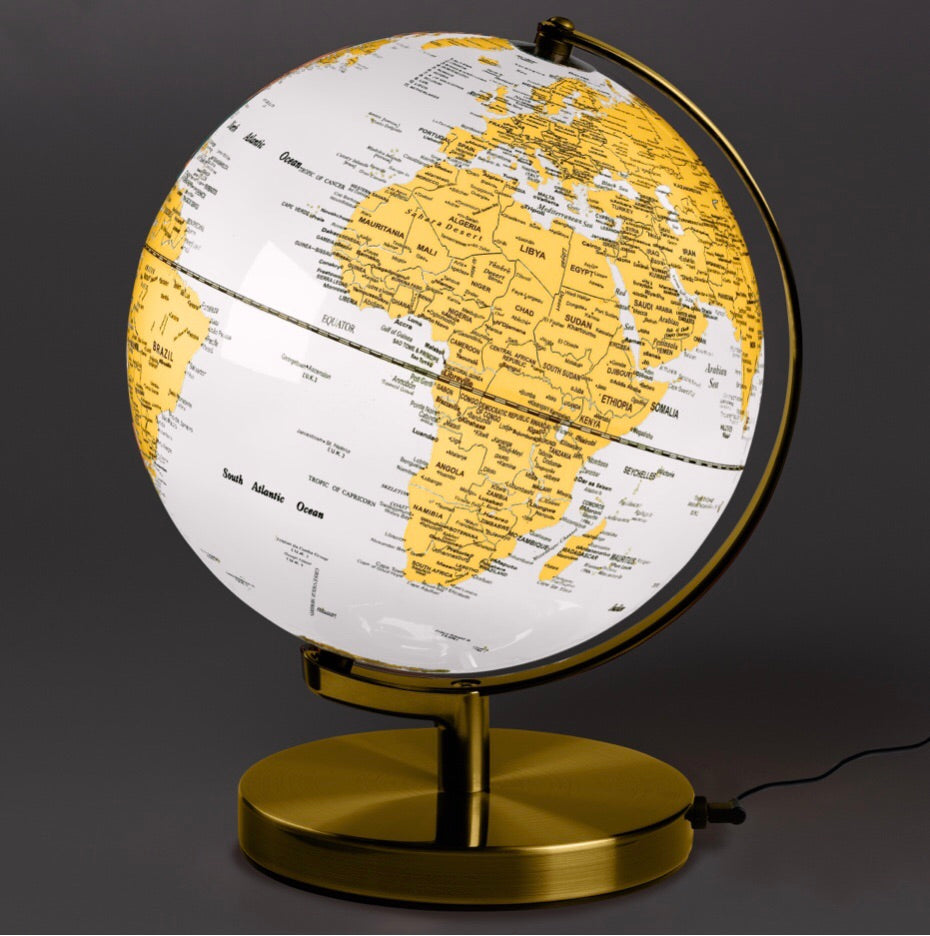 Globe light 10 in metallic brass and artic white