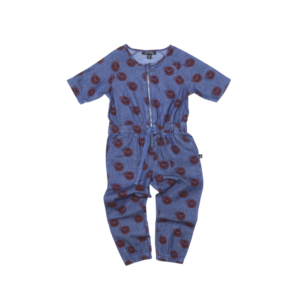 Denim Jumpsuit - Clocks
