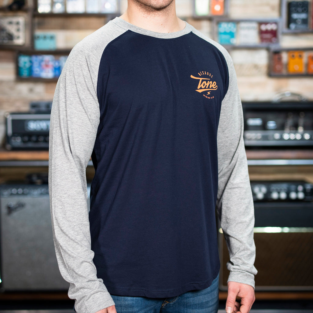 NEW! Because Tone Plectrum Baseball Shirt - Navy/Heather