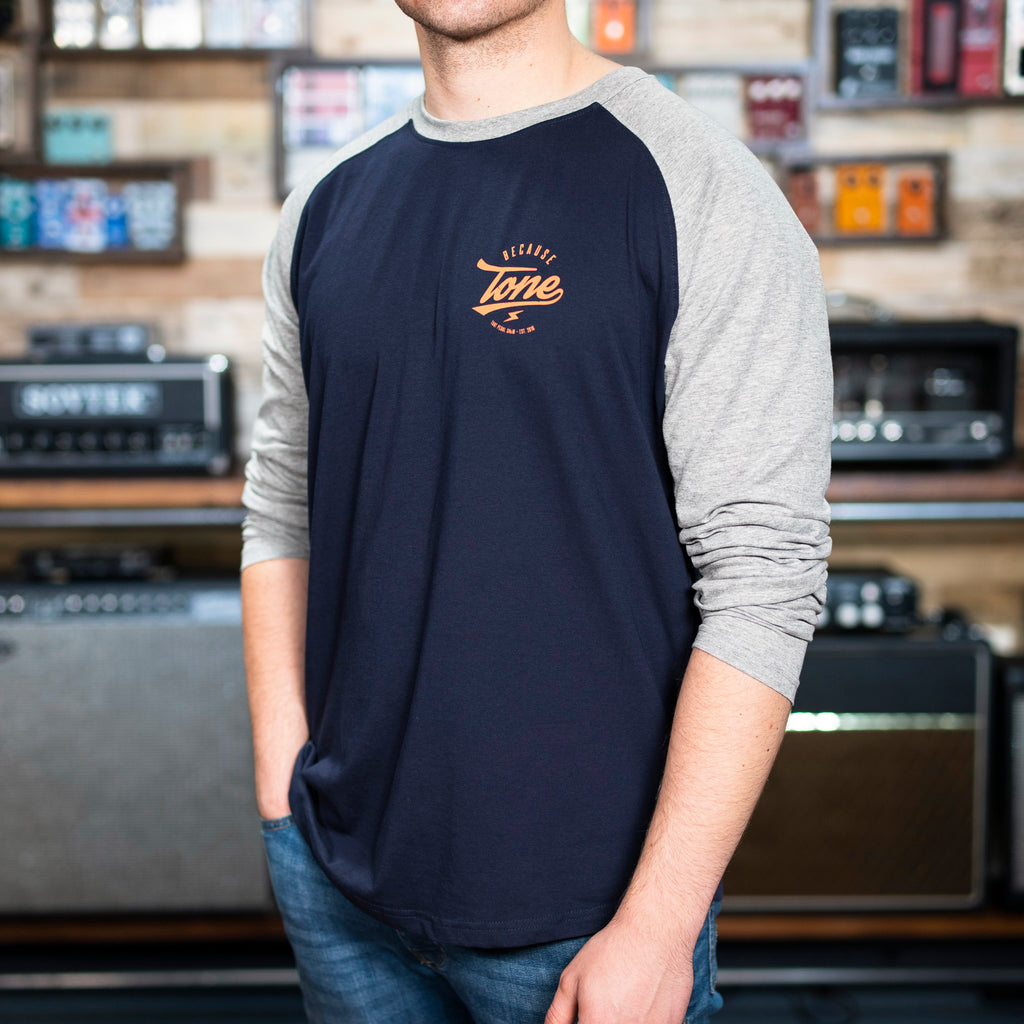 Because Tone® Plectrum Baseball Shirt - Navy/Heather