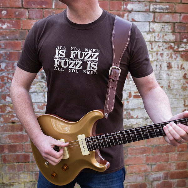 'All You Need Is Fuzz' Special Edition T-Shirt - Dark Chocolate/Stone White - That Pedal Show Shop - 1
