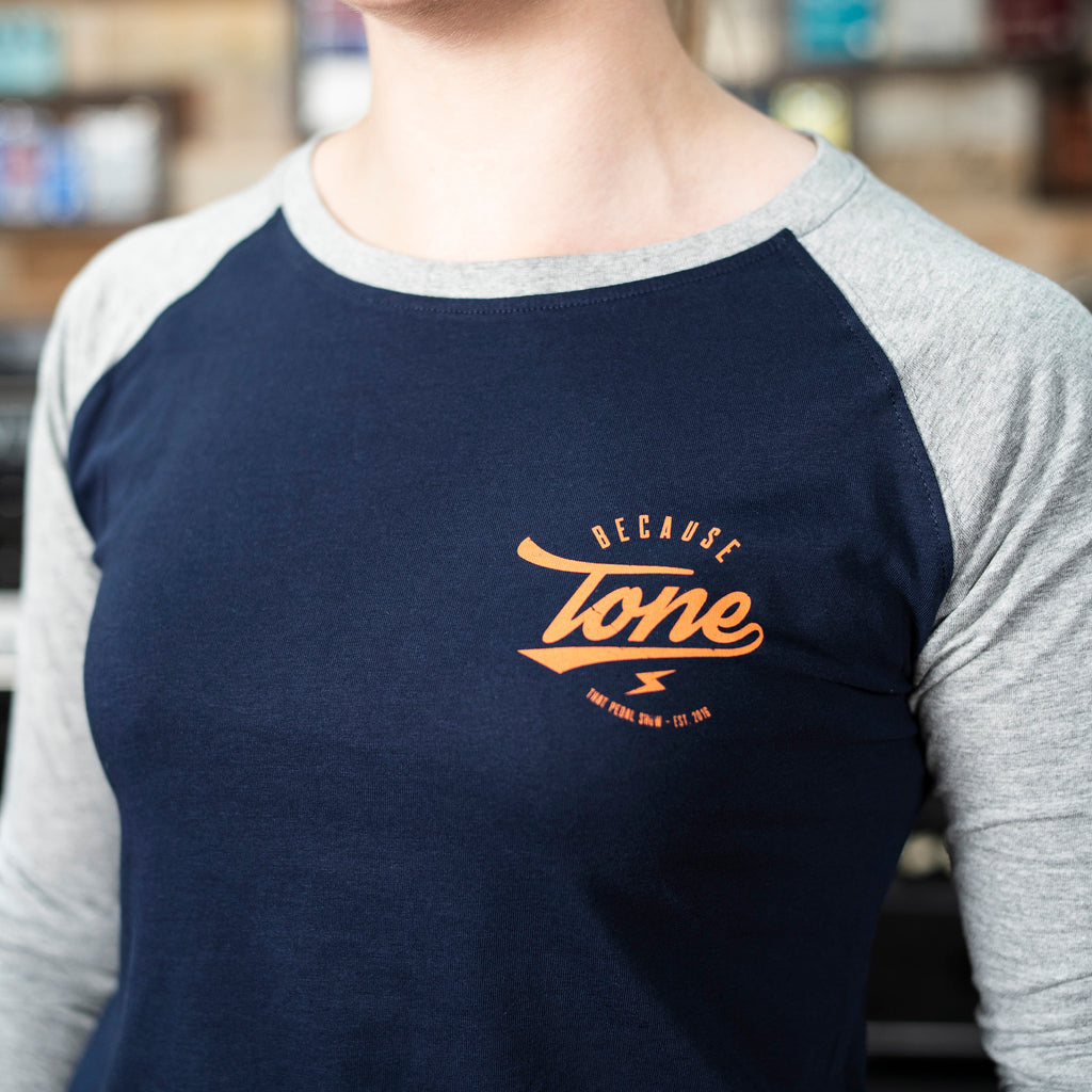 Because Tone® Plectrum Women's Baseball Shirt - Navy/Heather