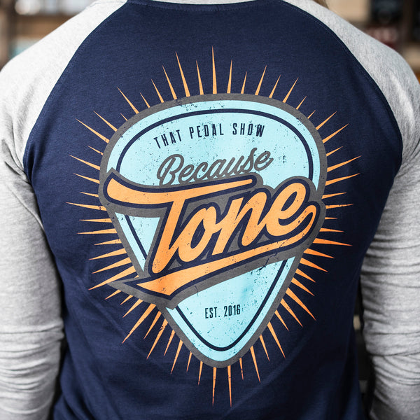 NEW! Because Tone Plectrum Women's Baseball Shirt - Navy/Heather