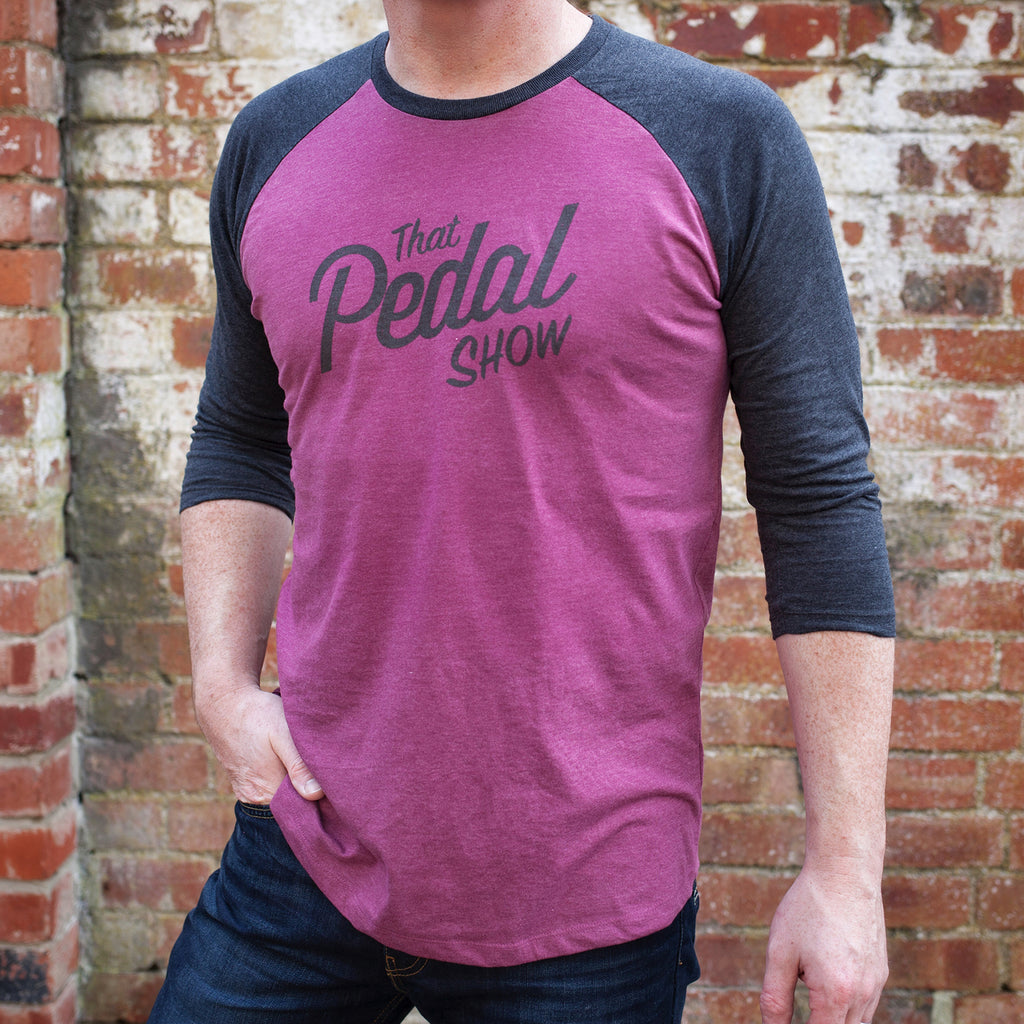 That Pedal Show Logo Baseball T-Shirt with 3/4 Sleeves - Plum/Black
