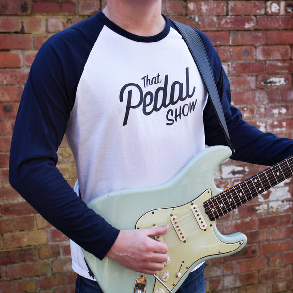 That Pedal Show Raglan Long Sleeve Logo T-Shirt - White/Navy with Dark Grey TPS  Logo