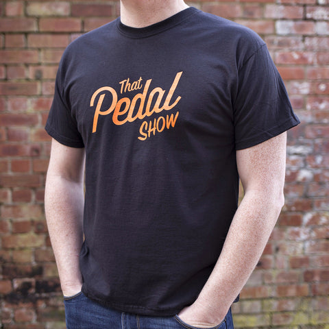 That Pedal Show Short Sleeve Text Logo T-Shirt - Black/Orange - That Pedal Show Shop - 1