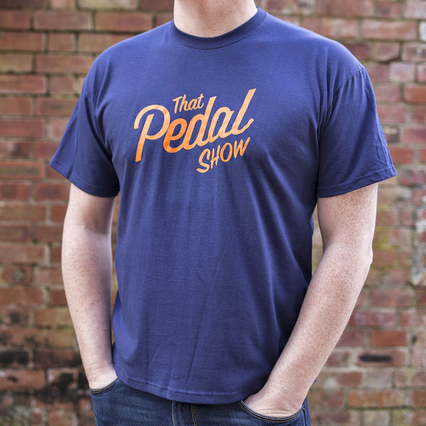 That Pedal Show Short Sleeve Text Logo T-Shirt - Navy Blue/Orange - That Pedal Show Shop - 2