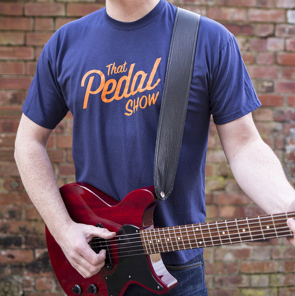 That Pedal Show Short Sleeve Text Logo T-Shirt - Navy Blue/Orange - That Pedal Show Shop - 1