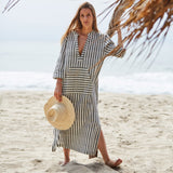 The Eden Caftan in Black and White Stripe