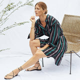 The Laila Shirtdress in Night Stripe