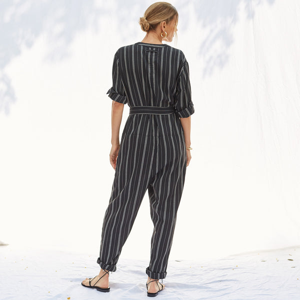 The Atlas Jumpsuit in Black PInstripe