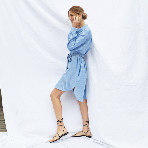 The Laila Shirtdress in Cielo Stripe