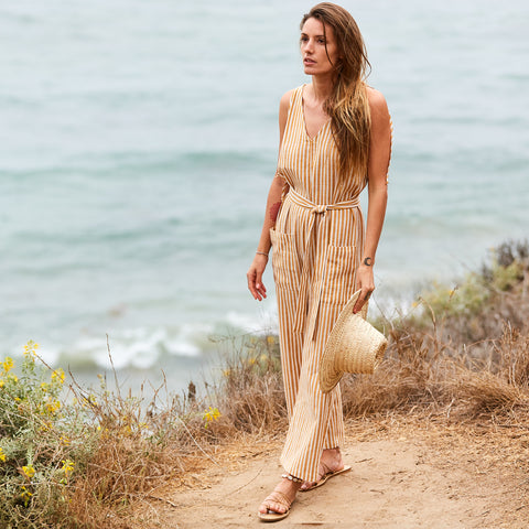 The Cabiria Jumpsuit in Oro Stripe