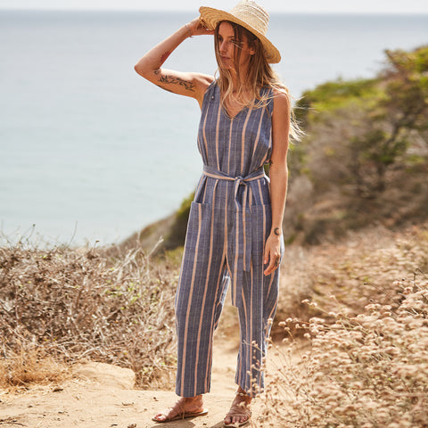 The Cabiria Jumpsuit in Chambray Stripe