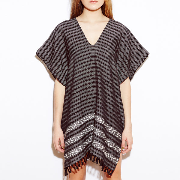 XO Caftan: Black and White Stripe