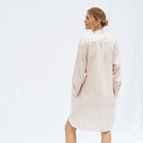 The Laila Shirtdress in Pink Chambray Stripe