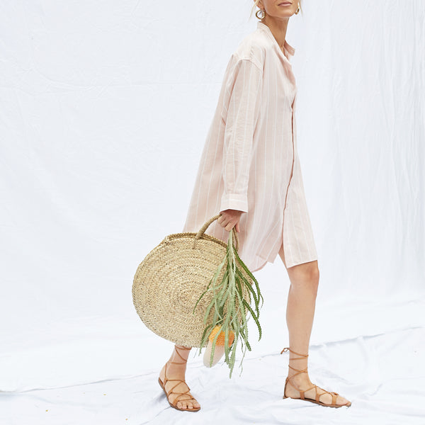 Round Palm Leaf Market Bag