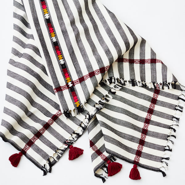 The Sunny Blanket in Black and White Stripe