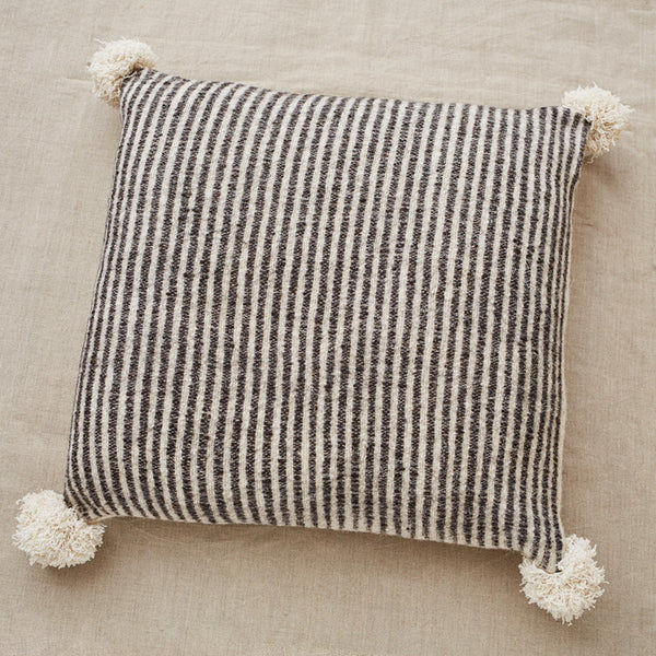 Large Rustic Pom Pom Pillow