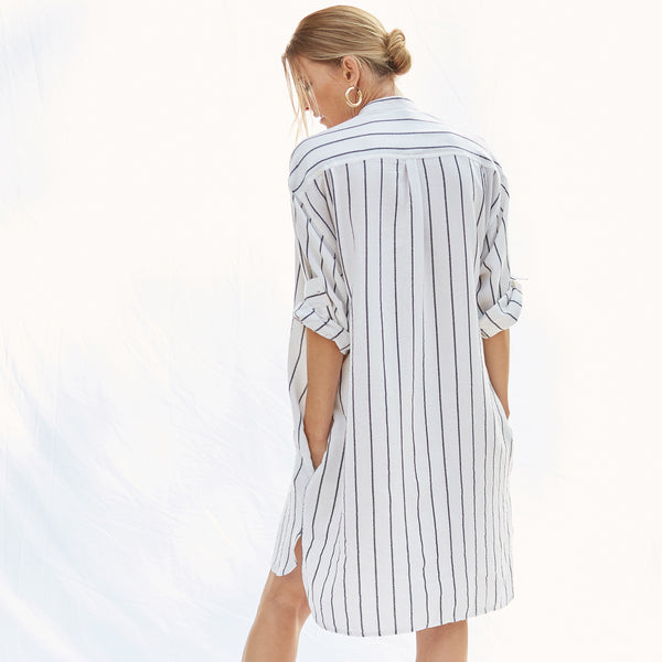 The Laila Shirtdress in Ecru Stripe