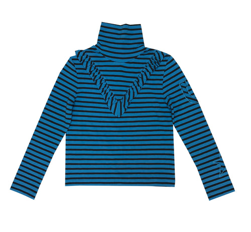 Blue Striped Ruffle Polo Neck Top