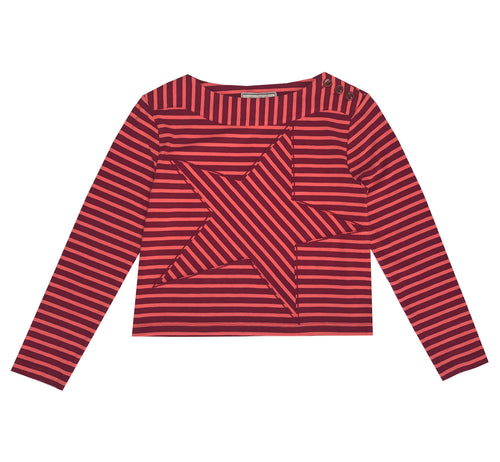 Red Striped Star Breton Top