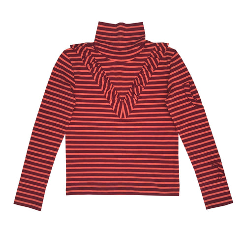 Striped Ruffle Polo Neck Top