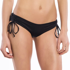 Solid Black Collection String Ruched Bikini Bottoms