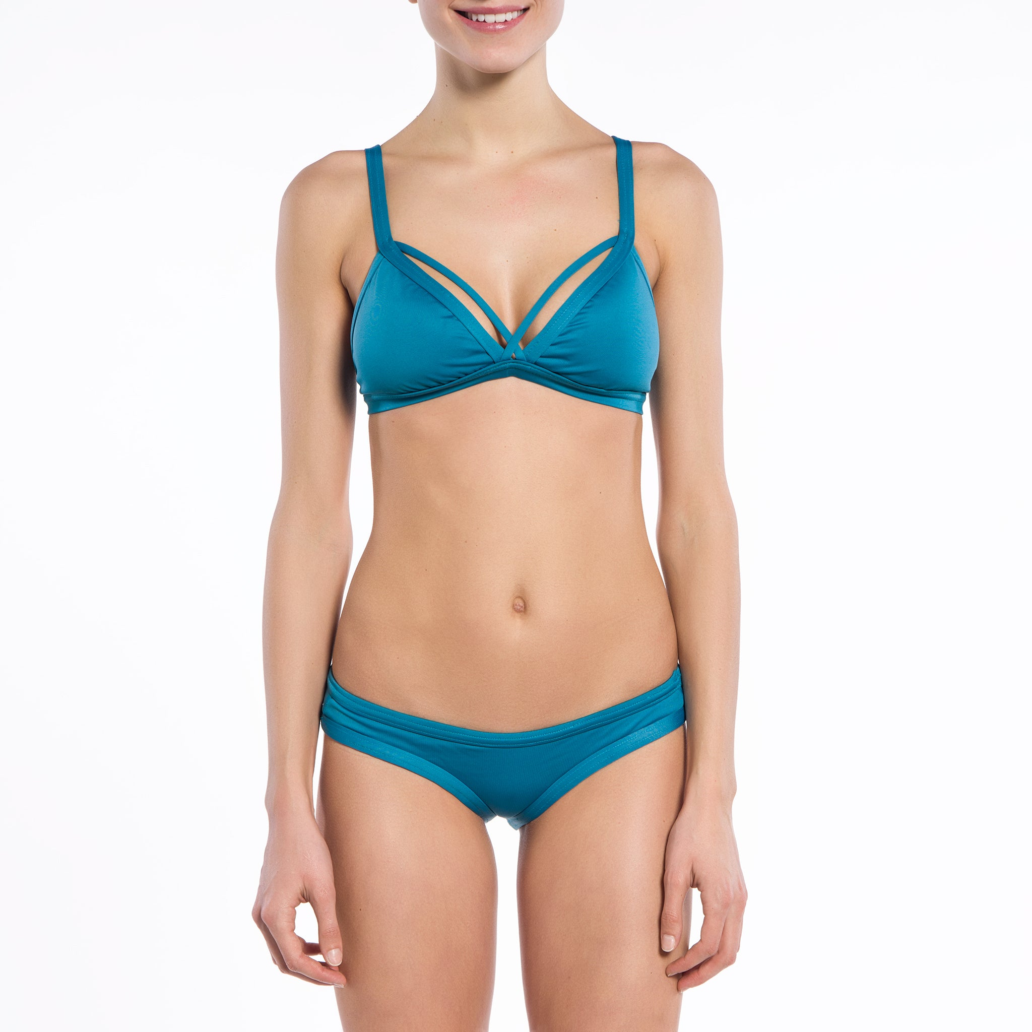 Solid Teal Collection Double Triangle Bikini Top