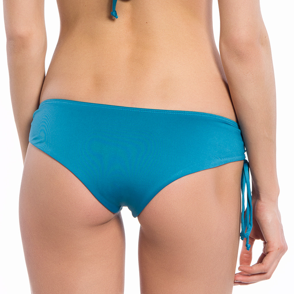 Solid Teal Collection String Ruched Bikini Bottoms