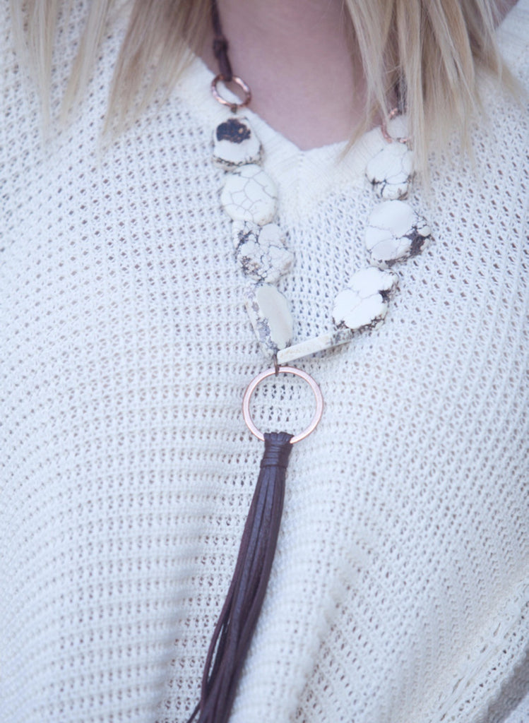 Stone & Tassel Necklace