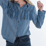 Huck- Fin Denim Fringe Top