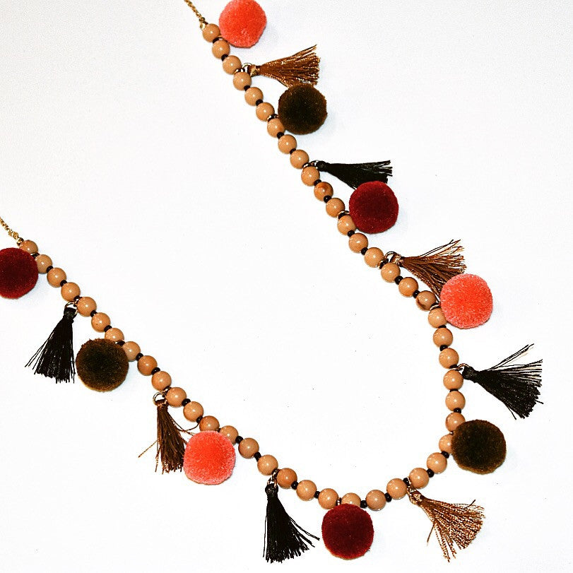 Pom Tassel Pom Necklace